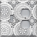 Combo Light Switch and Outlet Cover in Gray and White Lace Doilies