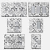 Gray and White Lace Doilies Light Switch Covers & Outlet Covers