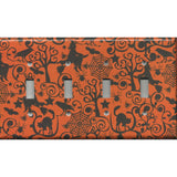 Quad Light Switch Cover in Halloween Witches Spider Webs Cats