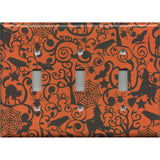 Triple Light Switch Plate Cover in Halloween Witches Spider Webs Cats Pattern