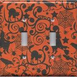 Double Toggle Light Switch Cover in Halloween Witches Spider Webs Black Cat