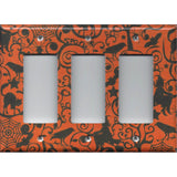 Triple Rocker Decora Light Switch Cover in Halloween Witches Spider Webs Black Cat