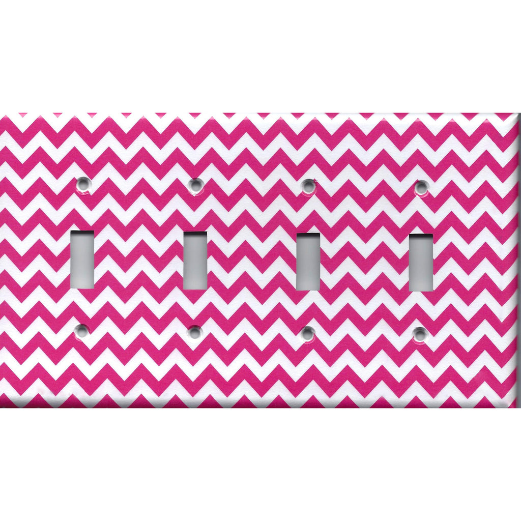Quad Toggle Light Switch Cover in Hot Pink Chevron Zig Zag Print Light Hand Made