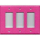 Triple Rocker Decora Light Switch Cover in Hot Pink with Small White Dots