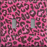 Double Toggle Light Switch Cover in Hot Pink & Black Leopard Animal Print- Simply Chic Gal