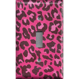 Single Toggle Light Switch Cover in Hot Pink & Black Leopard Animal Print- Simply Chic Gal