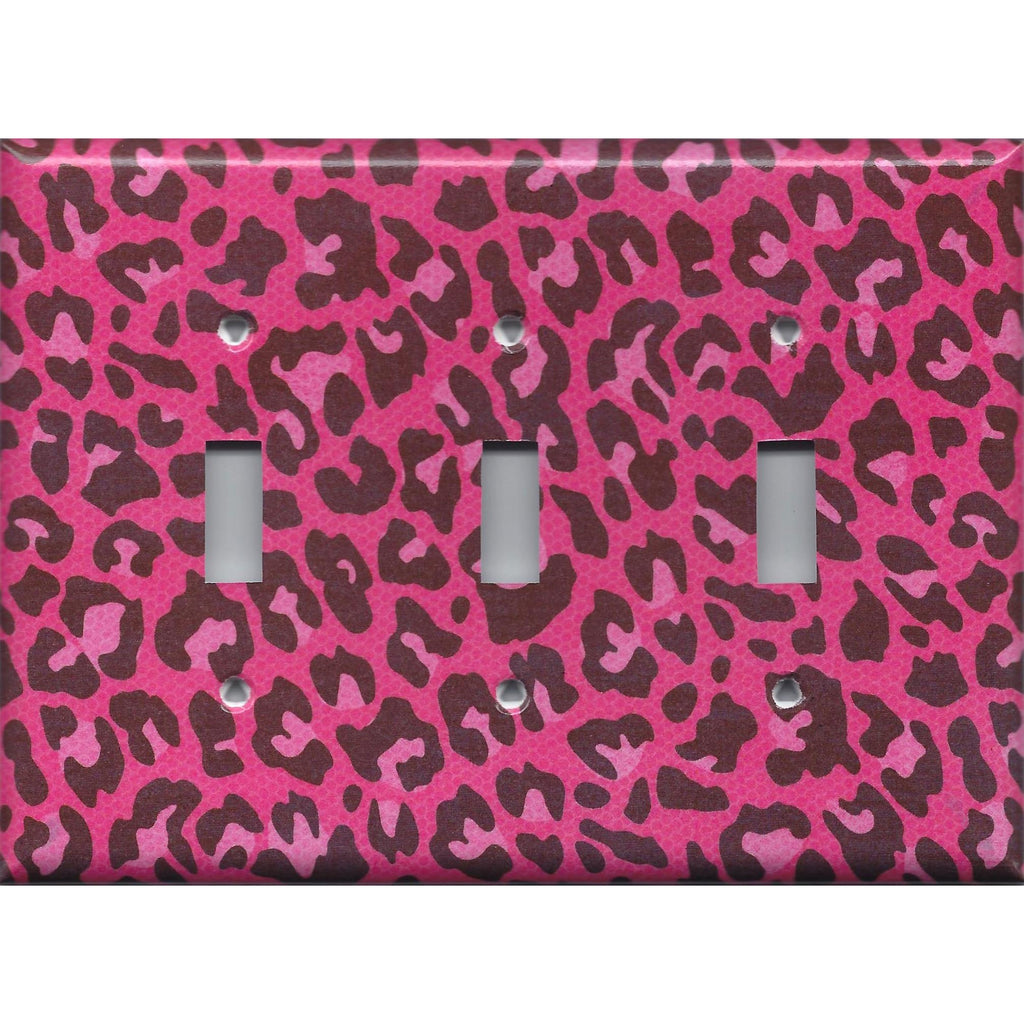 Triple Toggle Light Switch Cover in Hot Pink & Black Leopard Animal Print Light- Simply Chic Gal