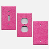 Hot Pink Floral Swirls Decorative Light Switch Plates & Outlet Covers