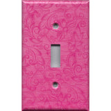 Single Toggle Light Switch Cover in Hot Pink Floral Swirls Decor