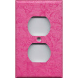 Wall Outlet Plate Cover in Hot Pink Floral Swirls Decor