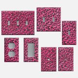Hot Pink & Black Leopard Animal Print Light Switch Plates & Outlet Covers-Home Decor-Simply Chic Gal