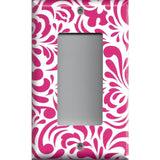 Single Rocker Decora GFI Outlet Cover in Hot Pink Retro Filigree Swirls Handmade- Simply Chic Gal