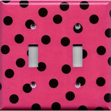 Double Light Switch Plate Cover in Hot Pink with Black Polka Dots Handmade- Simply Chic Gal