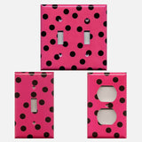 Hot Pink with Black Polka Dots Handmade Light Switch Plates & Outlet Covers- Simply Chic Gal