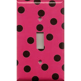 Single Light Switch Plate Cover in Hot Pink with Black Polka Dots Handmade- Simply Chic Gal