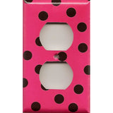 Wall Decor Outlet Cover in Hot Pink with Black Polka Dots Handmade- Simply Chic Gal
