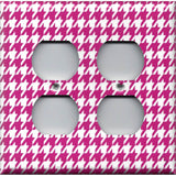 4 Plug Outlet Cover in Hot Pink and White Houndstooth Hand Made- Simply Chic Gal