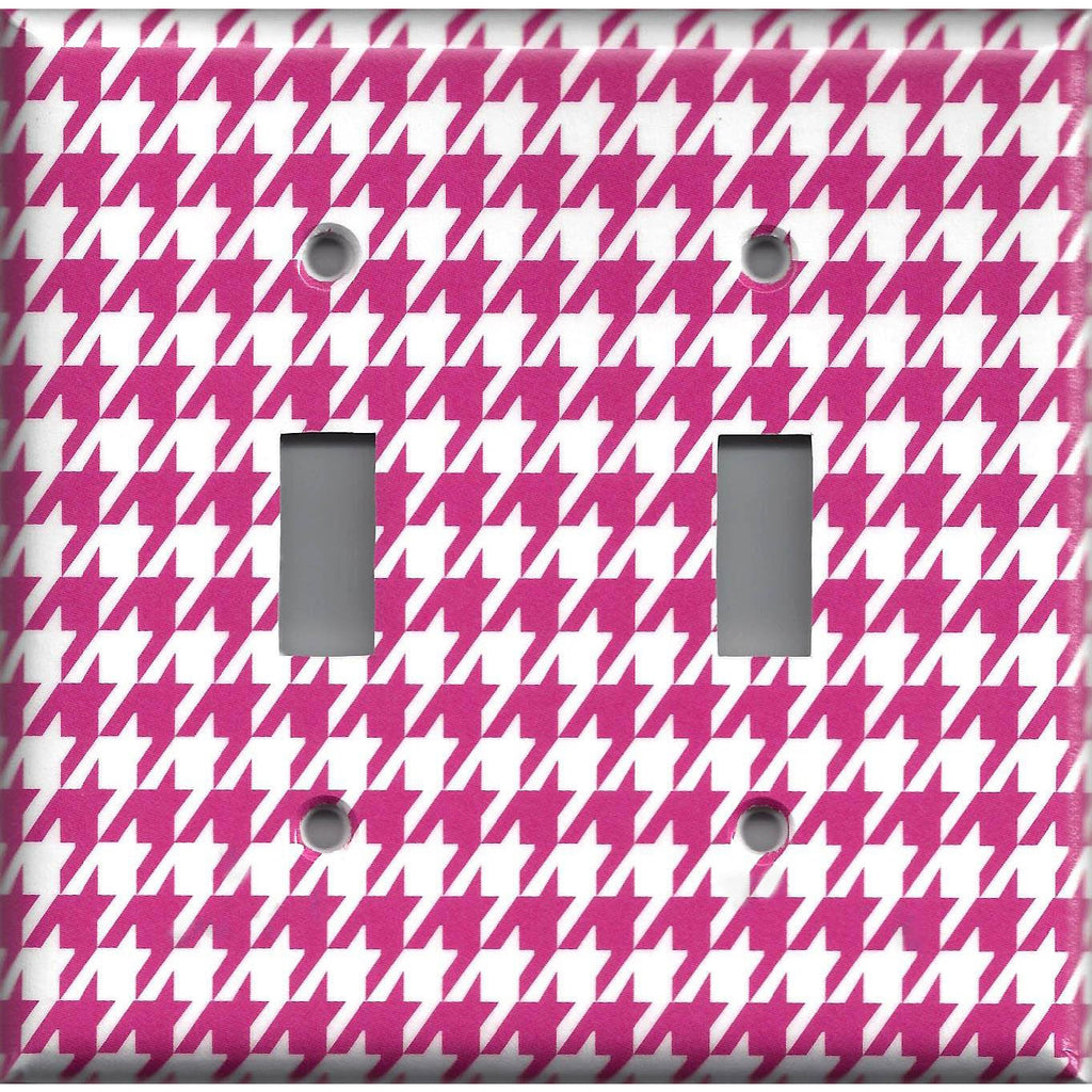 Double Toggle Light Switch Cover in Hot Pink and White Houndstooth Hand Made- Simply Chic Gal