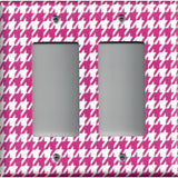 Double Rocker Decora Light Switch in Hot Pink and White Houndstooth Hand Made- Simply Chic Gal