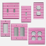 Hot Pink and White Houndstooth Hand Made Light Switch & Outlet Covers- Simply Chic Gal