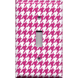 Single Toggle Light Switch Cover in Hot Pink and White Houndstooth Hand Made- Simply Chic Gal