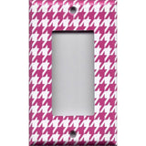 Single Rocker Decora GFI Outlet Cover in Hot Pink and White Houndstooth Hand Made- Simply Chic Gal