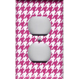 Wall Plate Outlet Cover in Hot Pink and White Houndstooth Hand Made- Simply Chic Gal