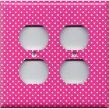 4 Plug Outlet Cover in Hot Pink with Small White Dots