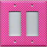 Double Rocker Decora Light Switch Cover in Hot Pink with Small White Dots
