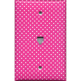 Hot Pink w/ Small White Polka Dots Light Switchplates & Outlet Covers Girls Room
