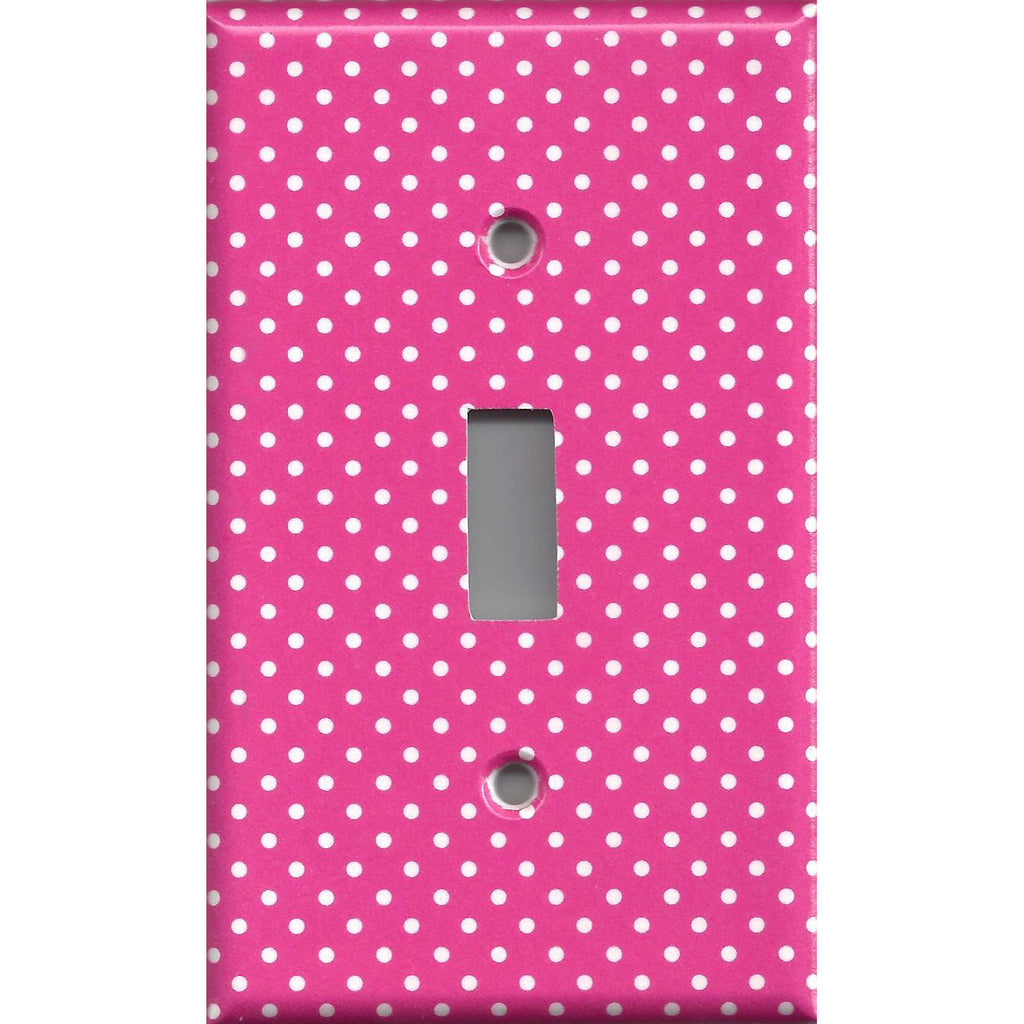 Hot Pink W Small White Polka Dots Light Switchplates Outlet Covers