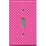 Single Toggle Light Switch Cover in Hot Pink with Small White Dots on