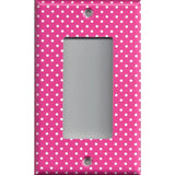Single Rocker Decora GFI Outlet Cover in Hot Pink with Small White Dots