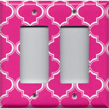 Double Rocker Decora Light Switch Cover in Hot Pink & White Quatrefoil Lattice Print