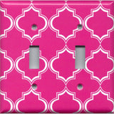 Double Toggle Light Switch Cover in Hot Pink & White Quatrefoil Lattice Print