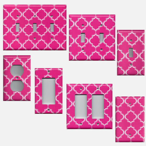 Hot Pink & White Quatrefoil Lattice Light Switchplates & Outlet Covers
