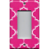 Single Rocker Decora GFI Outlet Cover in Hot Pink & White Quatrefoil Lattice Print