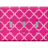Triple Toggle Light Switch Cover in Hot Pink & White Quatrefoil Lattice Print