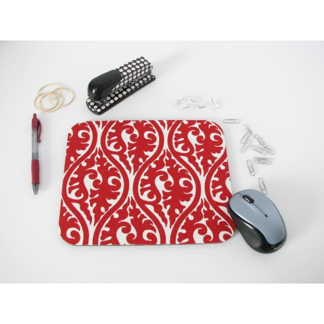 Red and White Elegant Damask Print Mouse Pad High Quality Office Desk Decor