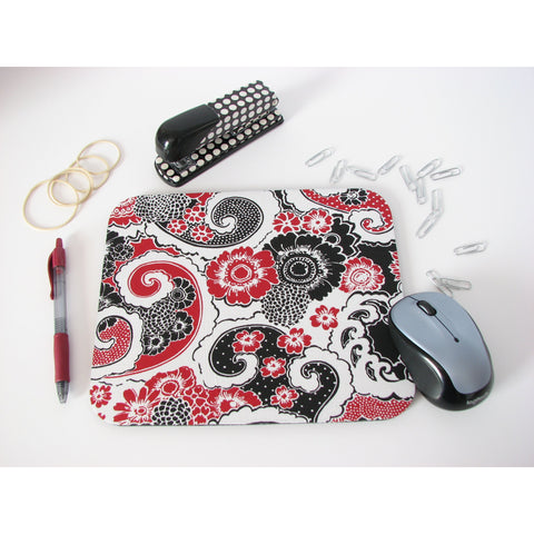 Black Red & White Floral Paisley Design Mouse Pad Office Design Ideas