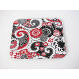Black Red & White Floral Paisley Design Mousepad