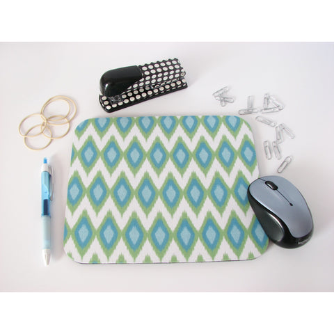 Ikat Diamonds Blue and Green Mouse Pad High Quality Office Desk Decor