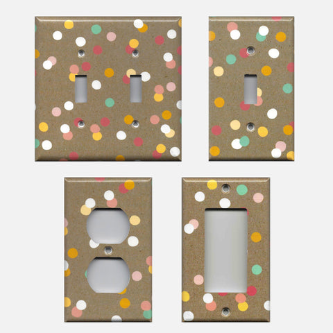 Pastel Confetti Dots on Kraft Brown Light Switch Plates- Outlet Covers