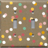 Double Toggle Light Switch Cover in Pastel Confetti Dots on Kraft Brown