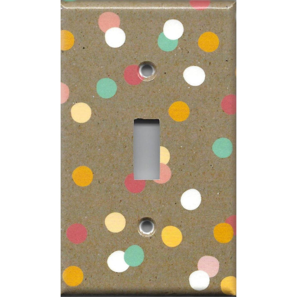 Single Toggle Light Switch Cover in Pastel Confetti Dots on Kraft Brown Handmade- Simply Chic Gal