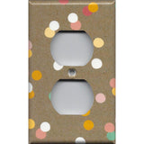Wall Outlet Cover in Pastel Confetti Dots on Kraft Brown Handmade- Simply Chic Gal