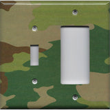 Combo Light Switch and Rocker GFI Outlet Cover in Camo Camouflage Print Man Cave/Boys Room Handmade - Simply Chic Gal