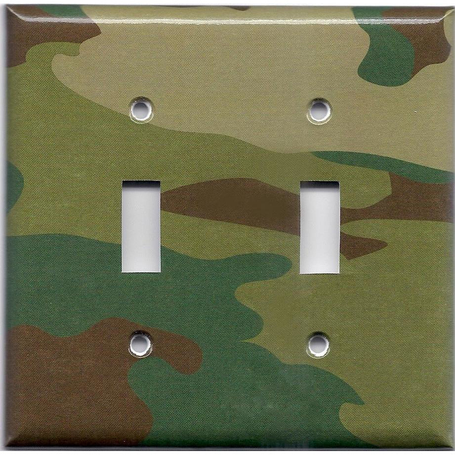 Double Light Switch Plate Cover in Camo Camouflage Print Man Cave/Boys Room- Simply Chic Gal