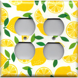 4 Plug Outlet Cover in Yellow Lemon Slices Kitchen Decor