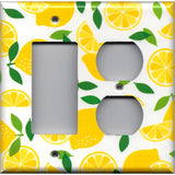 Combo Rocker and Outlet Cover in Yellow Lemon Slices Kitchen Decor